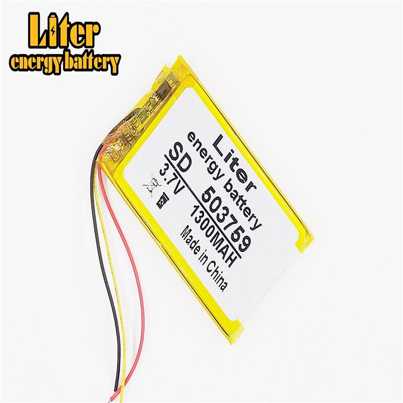 Batería de li-polímero recargable de 3 líneas 503759 3,7 V 1300mAh para e-road route HD-X9 X10 E-V5 navigator NW-ZX1 LIS1530HNPPC