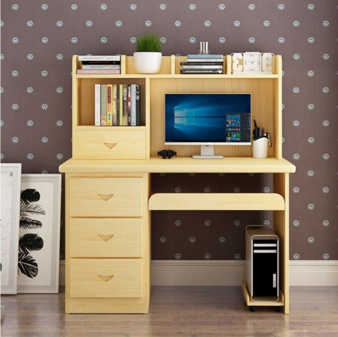 Стол компьютерный из массива дерева, домашний письменный стол, книжная полка, комбинированный простой Детский письменный стол, ученический...