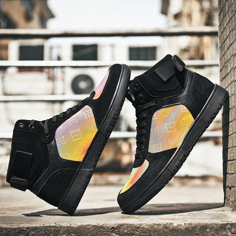2020 Fashion Black High top Board Shoes Men Outdoor Sport Glitter Shoes Trainers Colofrul Women Sneakers zapatillas deportivas