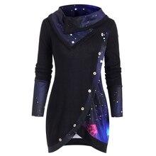 Camisola feminina rosegal galaxy print painel mock botão cowl pescoço camisola outono inverno quente pullovers camisola nova galáxia