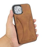 Роскошный тонкий кожаный чехол премиум класса для iPhone 11 12 mini Pro XR XS Max X 6 6s 7 8 Plus слоты для карт ударопрочный чехол с подставкой
