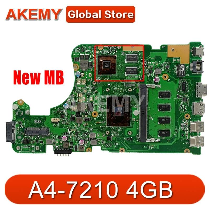 Akemy X555YI اللوحة A4-7210 4GB RAM R5-M320 2GB ل ASUS X555D A555D X555DG X555YI Laptop MainBoard X555DG اللوحة