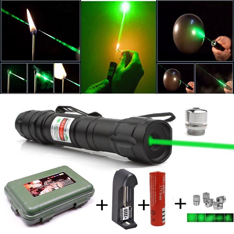 Мощная зеленая лазерная указка 5 мВт, лазерное прицельное мощное лазерное оборудование 2 в 1, съемный держатель лампы с зарядным устройством ...