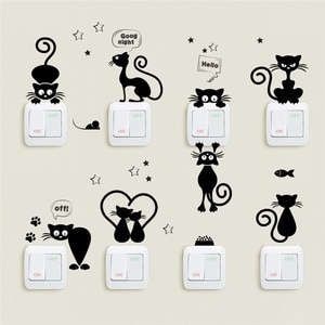 Lovely Cat Light Switch Phone Wall Stickers For Kids Rooms Diy Home Decoration Cartoon Animals Wall Decals Pvc Mural Art