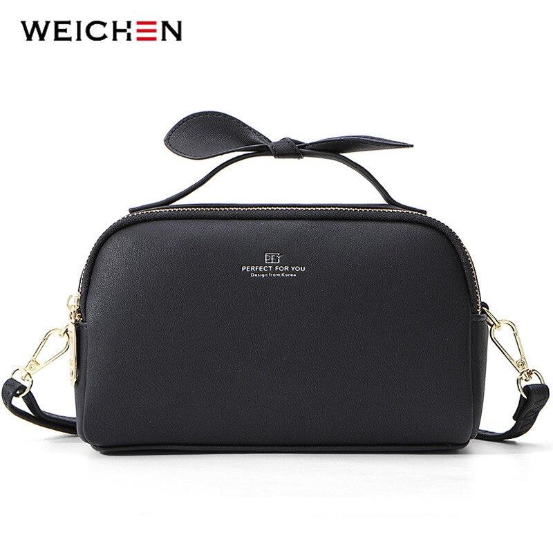 WEICHEN NEW 2 Zipper Layers Women Handbag Soft Leather Ladies Bow Design Shoulder Bags Female Messenger Crossbody Bag Bolsa Sac