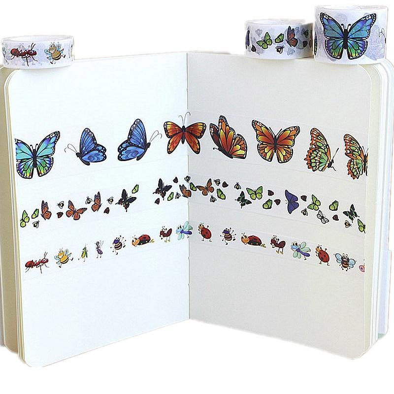Симпатичные животные бабочка Скрапбукинг Washi лента Набор «сделай сам» для студента подарок на Новый год стационарная офисная техника