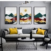 abstract geometric mountain sun birds canvas paintings family wall art posters for living room wall prints home decoration