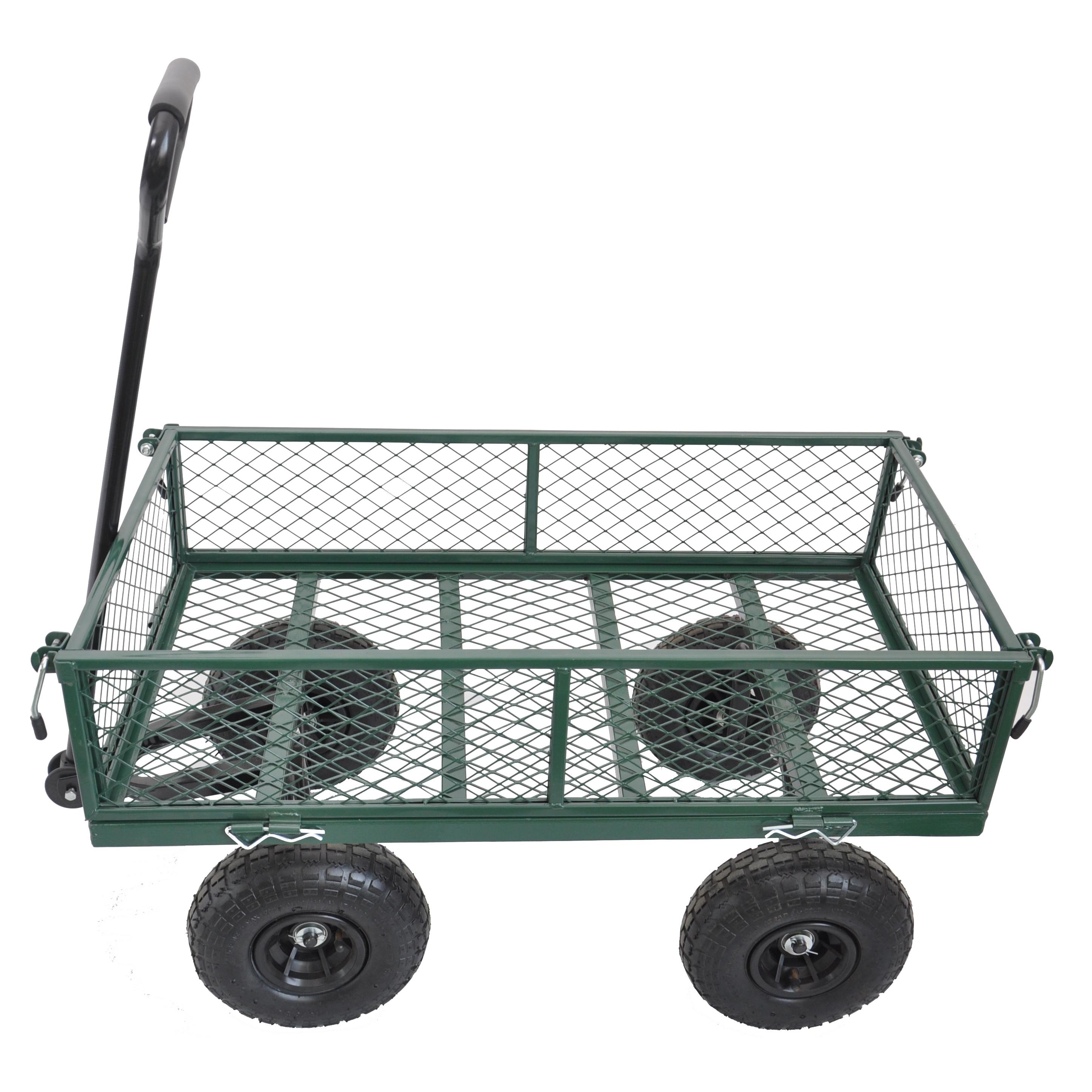 عربة البستنة المعدنية الثقيلة ، مقطورة خضراء ، عربة سحب ، شاحنات يدوية ، حديقة ، خارجية