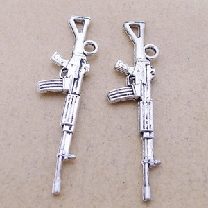 Supplies For Jewelry Making 10pcs 25*40mm Antique Silver Color Gun Charms