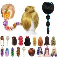 Girls Princess Dress up Accessories Headgear Synthetic Hair Aladdine Elsa Wig Mermiad Braid Descenda