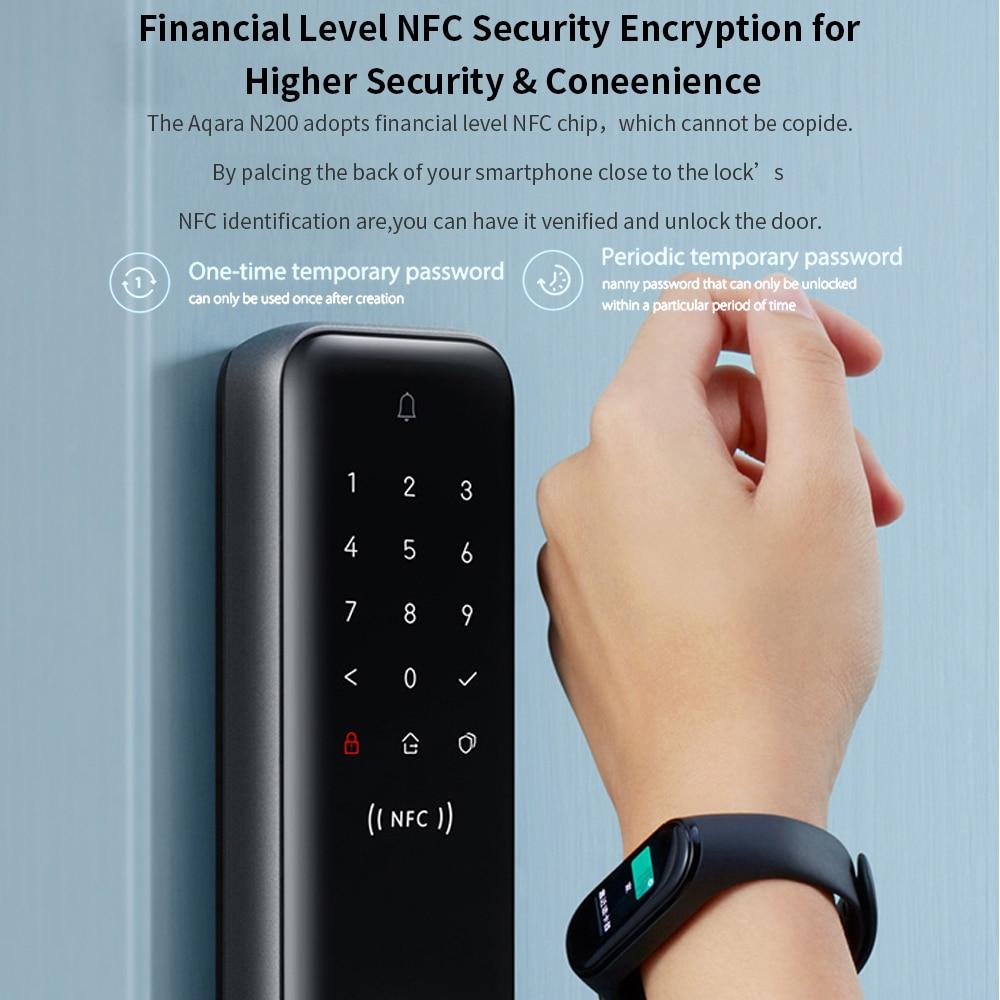Aqara N100/N200 Smart Door Lock Fingerprint Password Bluetooth-compatible Unlock NFC For Apple HomeKit Mi Home APP Smart Linkage