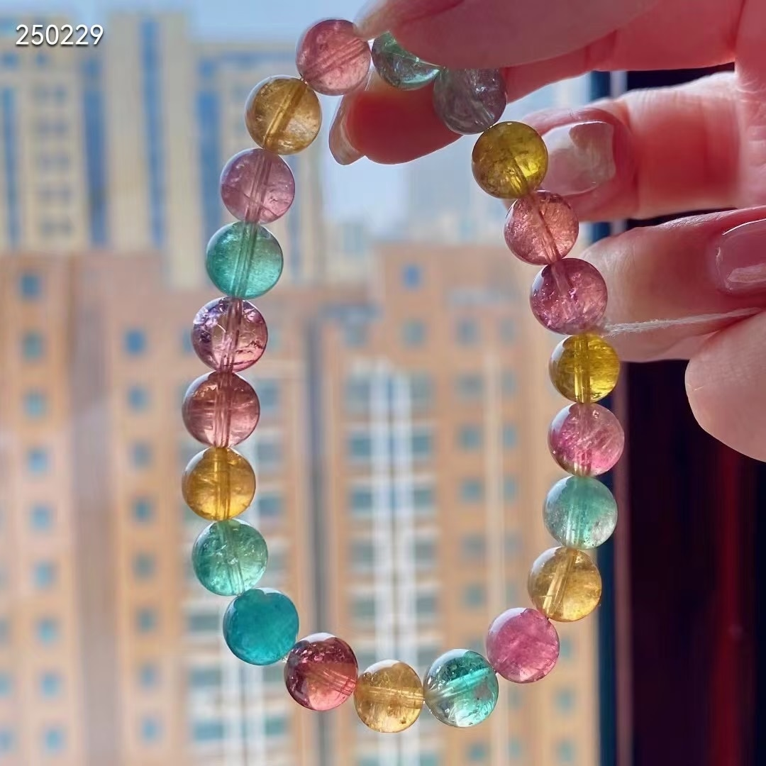 Get 8.5mm Genuine Natural Colorful Tourmaline Crystal Bracelet Clear Round Beads Women Crystal Jewelry Candy Tourmaline AAAAAAA