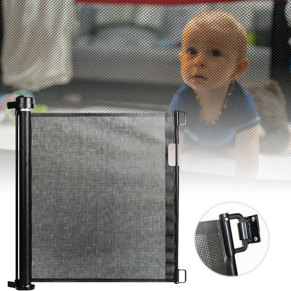 Security Indoor And Outdoor Retractable Gate Child Pet Mesh Safety Door Durable Baby Protection Doors Plastic Baby Pet Dog Fence
