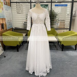 3/4 Sleeve Wedding Dress With Appliques Backless Summer Boho Bride Dress Illusion Bodice White Tulle Bridal Dress robe de mariee