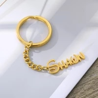 custom name keychain for women personalized monogram initial key chain with name engraved letter for women men jewelry gifts