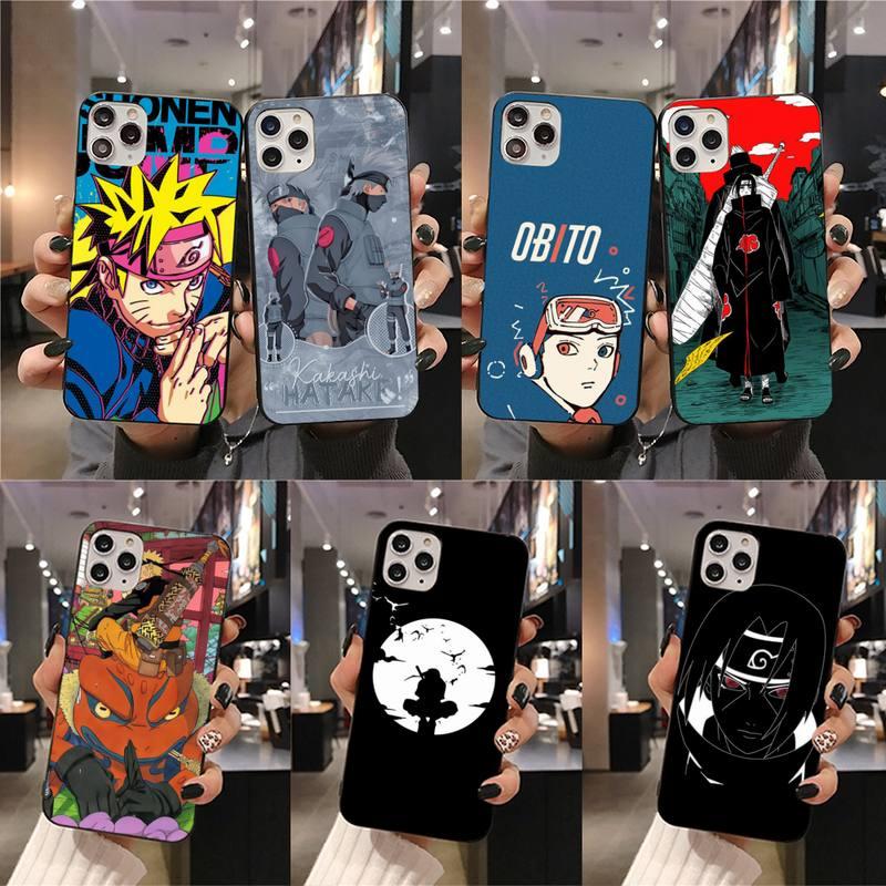 Naruto Kakashi Obito Itachi negro caja del teléfono para iPhone 11 pro XS MAX 8 7 6 6S Plus X 5S SE 2020 XR caso