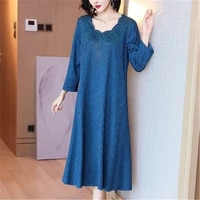 high end womens miyake folds middle aged mother beaded dress 2021 new autumn womens mid length fashion loose large size dress