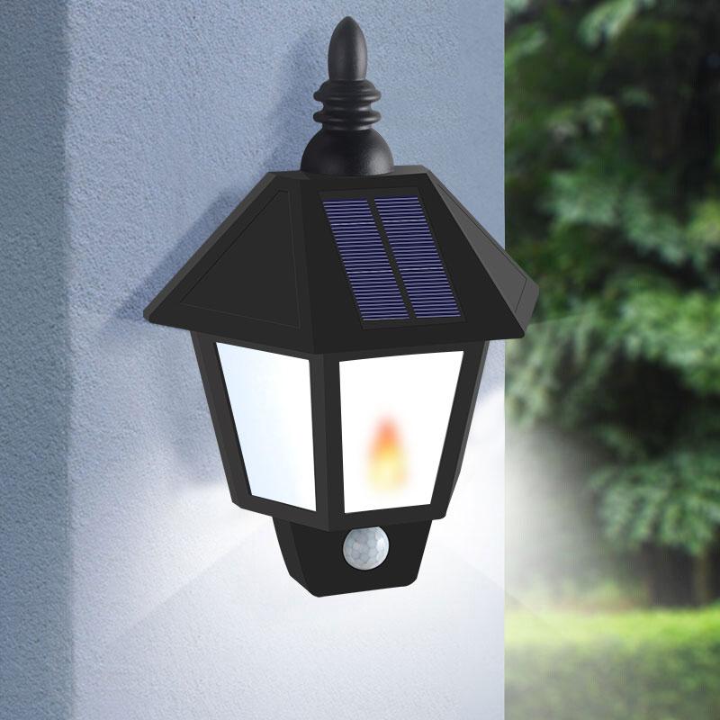 Dos modos de luz de llama Solar de jardín lámpara de pared con Sensor Led luces de calle solares potencia exterior lámparas de batería Luminaria a prueba de agua