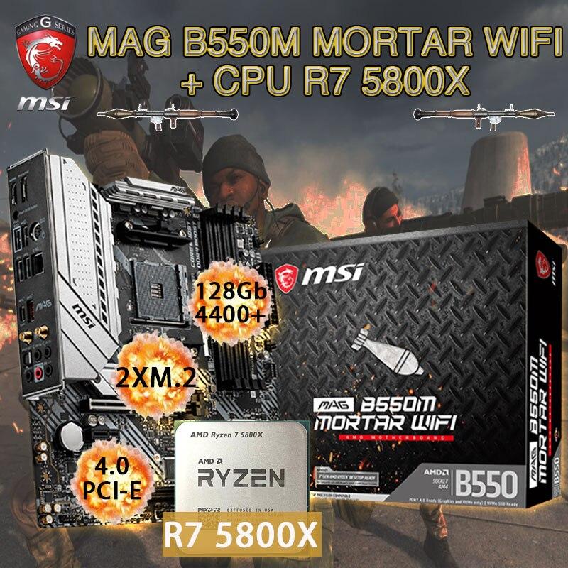MSI ماج B550M لوحة ام واي فاي هاون كومبو + وحدة المعالجة المركزية AMD Ryzen 7 5800X Set DDR4 128Gb M.2 PCI-E 4.0 لوحة ألعاب بلاسا-mv1 e AM4 سطح المكتب B550