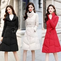 fashion cotton padded clothes autumn and winter womens clothes korean version simple medium length clothes slim temperament