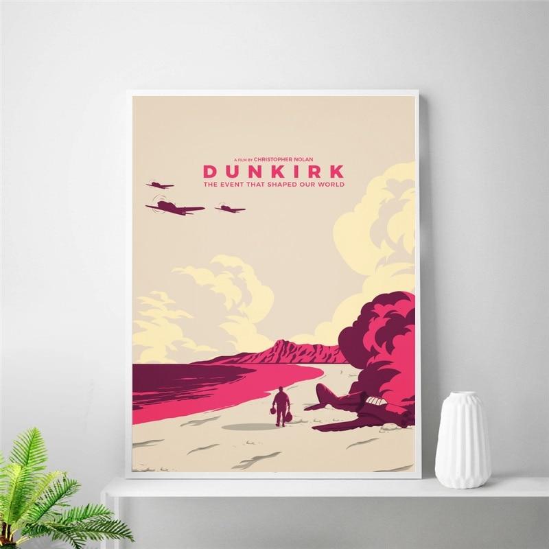 Decoración de habitación de póster de seda de Arte de película minimalista de duckerque (sin marco)