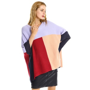Fashion Color Block Women Sweaters Autumn Winter Batwing Sleeves Split Women Pullovers Loose Casual Jumper Femme Cloak Knitwear