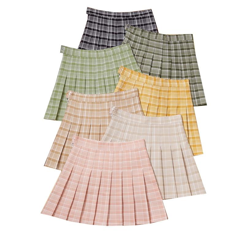 Summer Women Pleated Skirts High Waist A-Line Female Plaid Skirt Slim Waist Ladies Girls Dance Short Skirt Sweet Woman Skirts