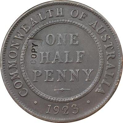Réplica doble cara 1923 Australia una moneda de medio centavo copia 100% Copiadora