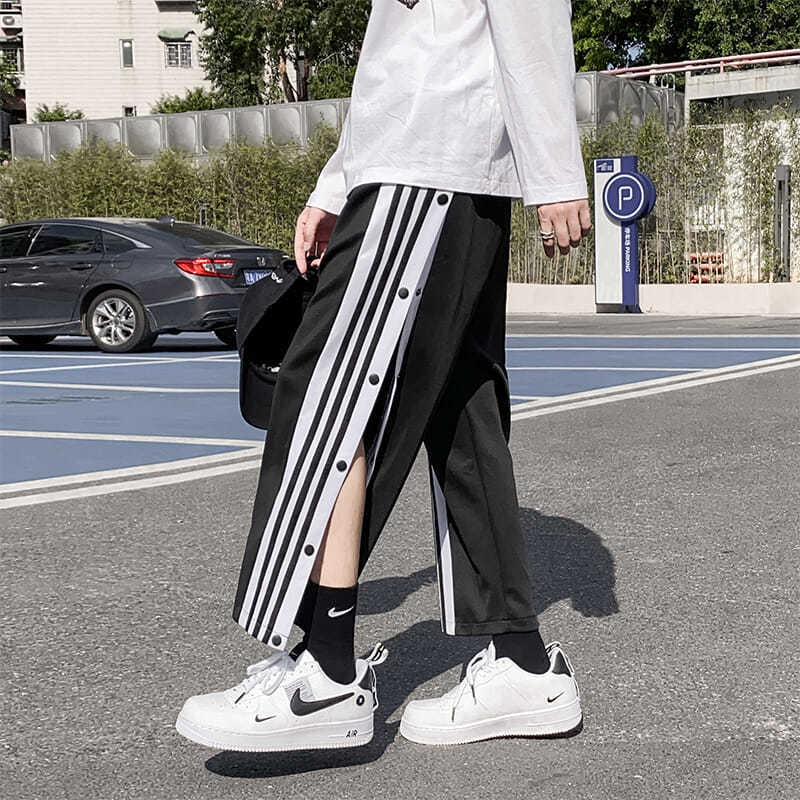 Breasted Pants Men's Basketball Training Pants 2021 New Straight Loose Side Row Wide-leg Sports Pants Spring Trousers Men