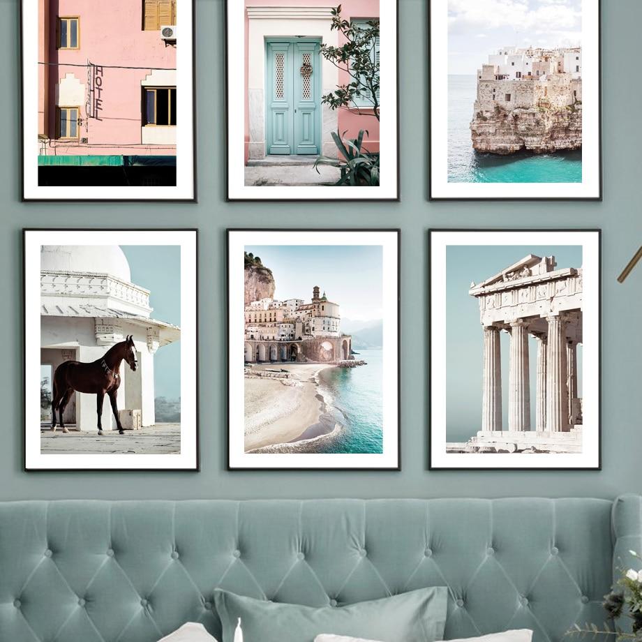 Amalfi Coast-pintura de lienzo impreso, cartel decorativo de estilo nórdico, imágenes para...
