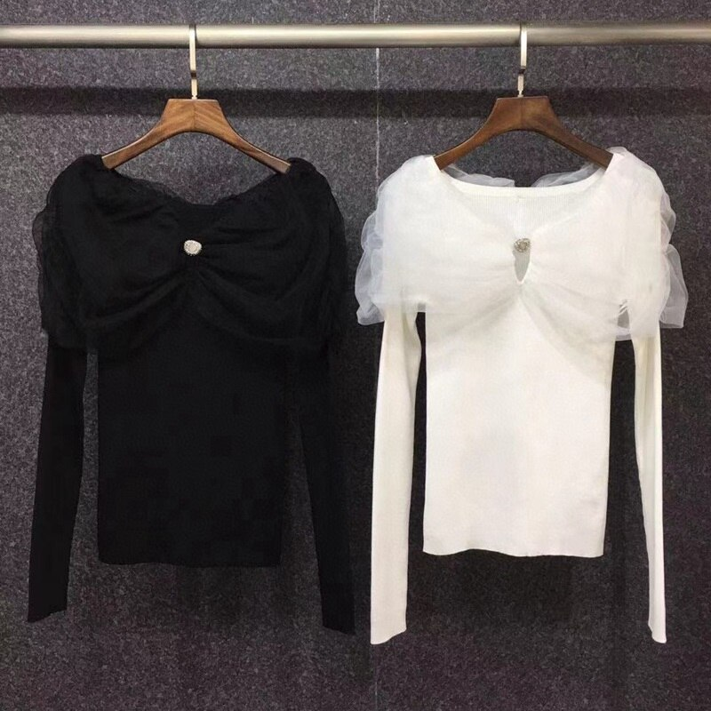 High Quality Knitted Sweaters 2021 Autumn Winter Jumpers Women Sexy Tulle Mesh Beading Deco Long Sleeve Black White Pullovers enlarge