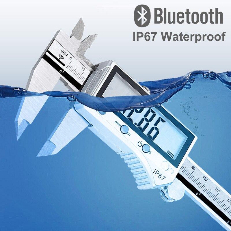 Bluetooth à Prova 0-300mm de Alta Precisão Qualidade Água Aço Inoxidável Vernier Caliper Digital Display Lcd Mea Dip67 Ip67