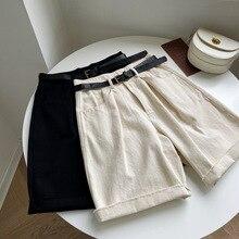 HXJJP Summer 2020 New Casual Short Pants Korean  Loose Rough Edge Joker Straight Pants Women