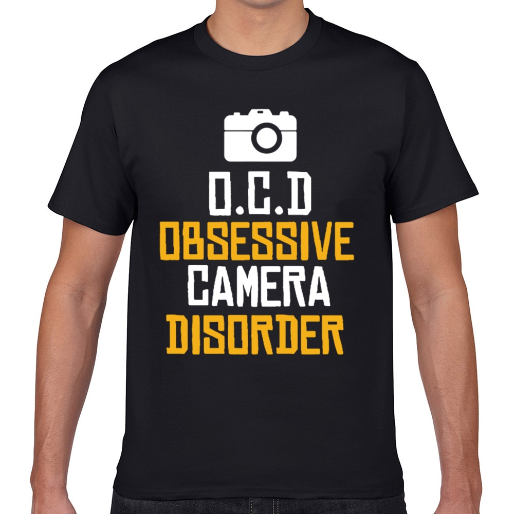 Camisetas para hombre, Camiseta de algodón Geek blanca divertida con diseño de cámara obsesivo XXXL
