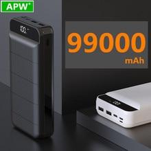 99000mah banco de potência bateria externa poverbank 2 usb led powerbank portátil carregador do telefone móvel para xiaomi mi iphone 8 x huawei