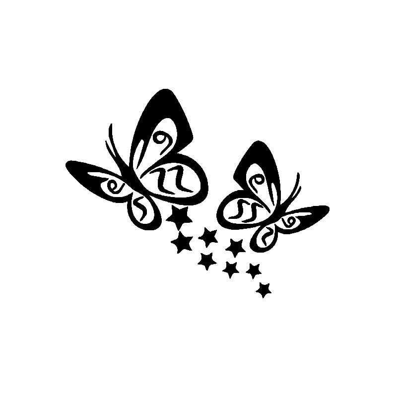 Наклейка-бабочка и звезда на автомобиль, украшение для корпуса и окна, модная ПВХ водонепроницаемая Солнцезащитная наклейка, черный/белый/к...