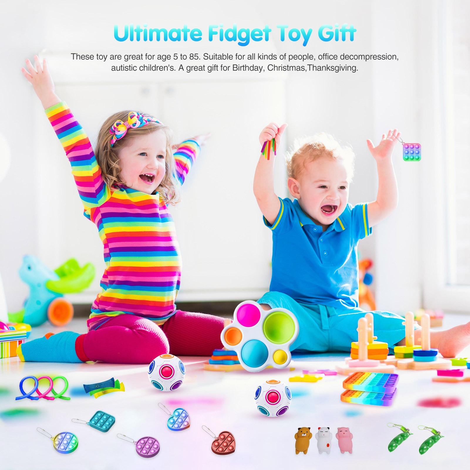 23PCS Push Bubble Silicone Sensory Toy Set Decompression Stress Reliver Toy Various Types Colorful Simple Dimple Fidget Toy Set enlarge
