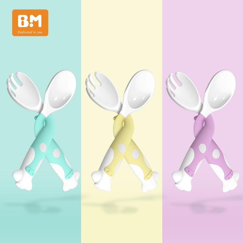 Набор силиконовых ложек для детских принадлежностей, Сгибаемая мягкая вилка для обучения еде у малыша, детская посуда