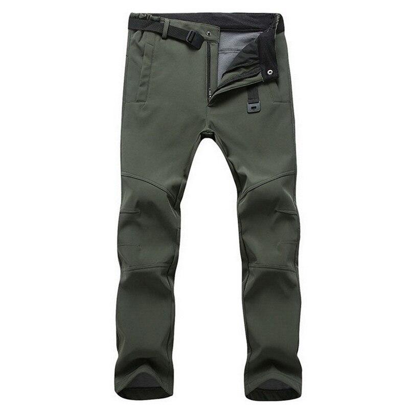 Зимние мужские водонепроницаемые флисовые брюки, повседневные теплые брюки из кожи акулы, мужские уличные ветрозащитные брюки-карго для пе...