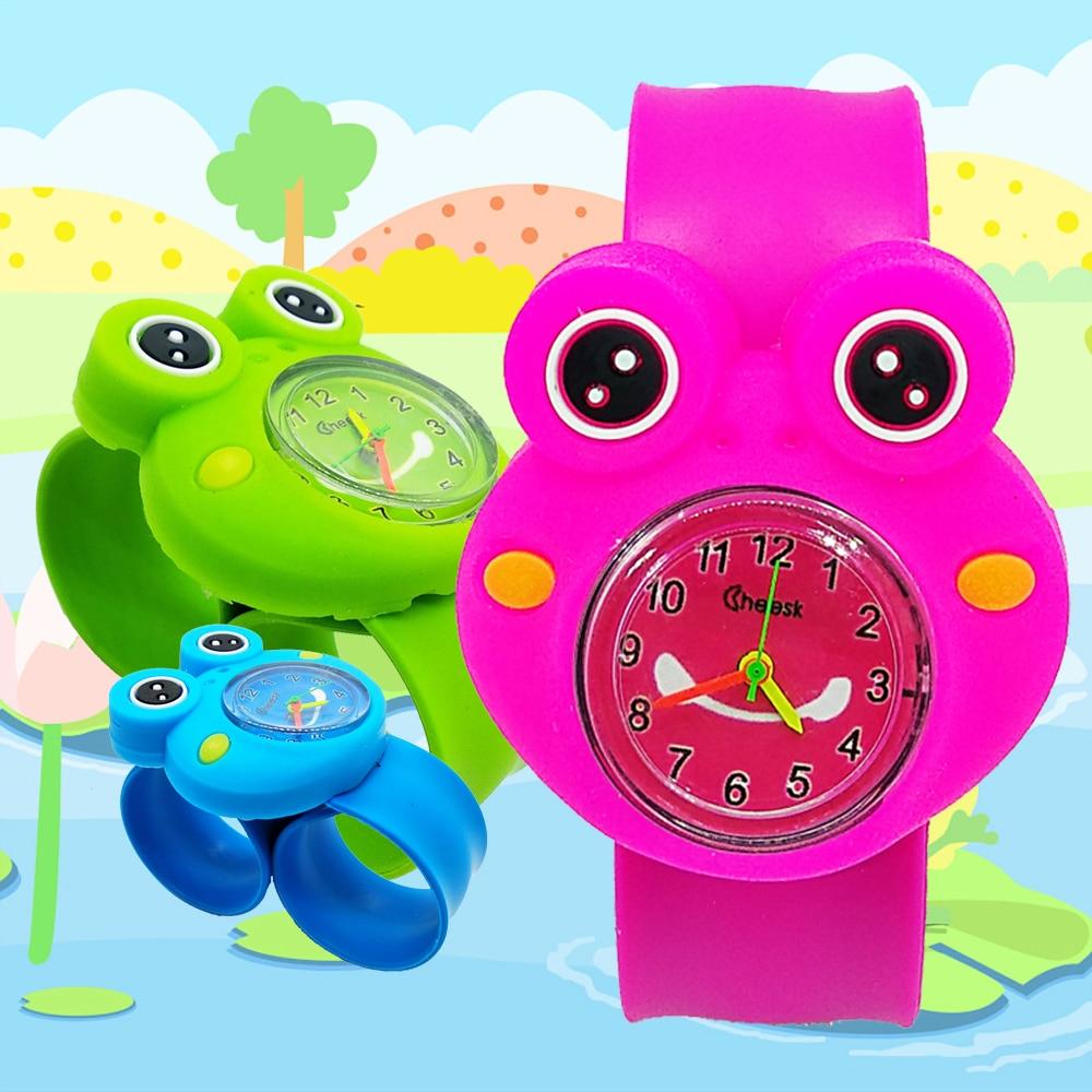 Новый продукт выпуска мультфильм бабочка лягушка детские часы модные детские часы Девушка Силиконовый Цвет Детские кварцевые наручные часы