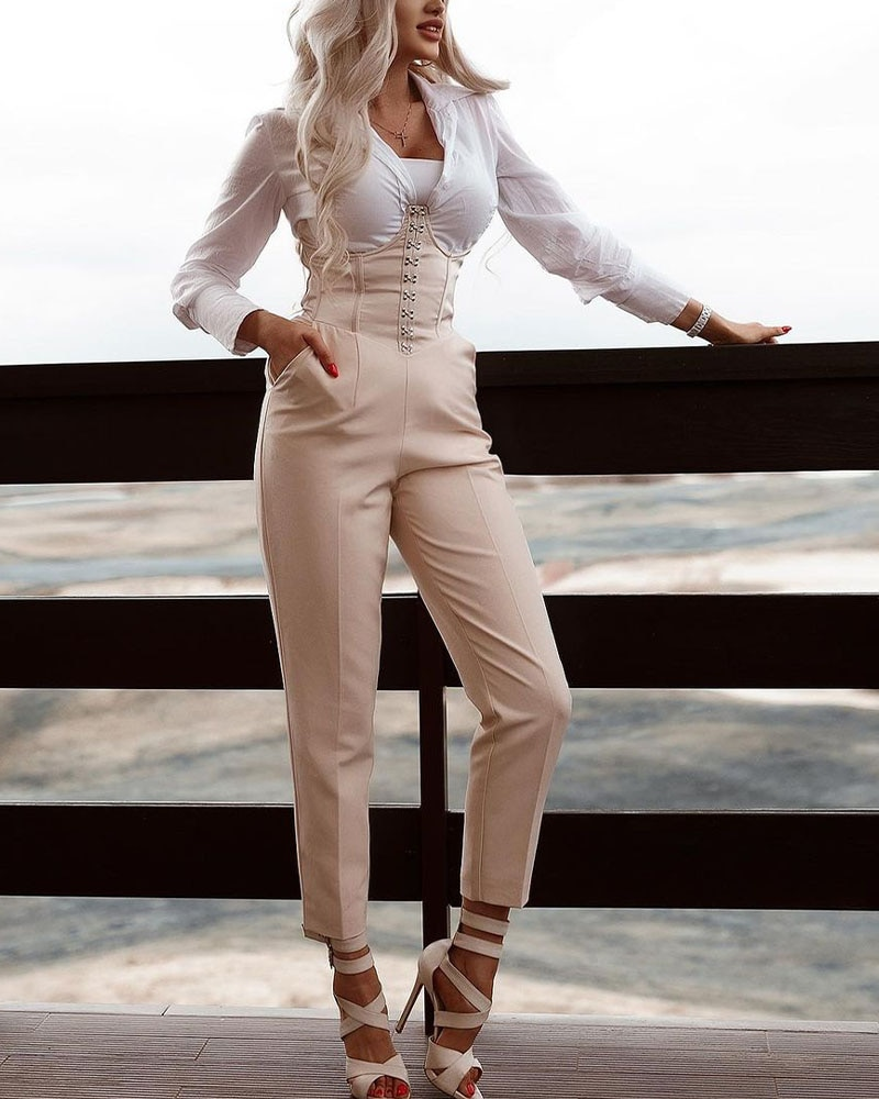 نمط جديد المرقعة حللا عادية كم طويل جيوب الكاحل طول بذلة للنساء