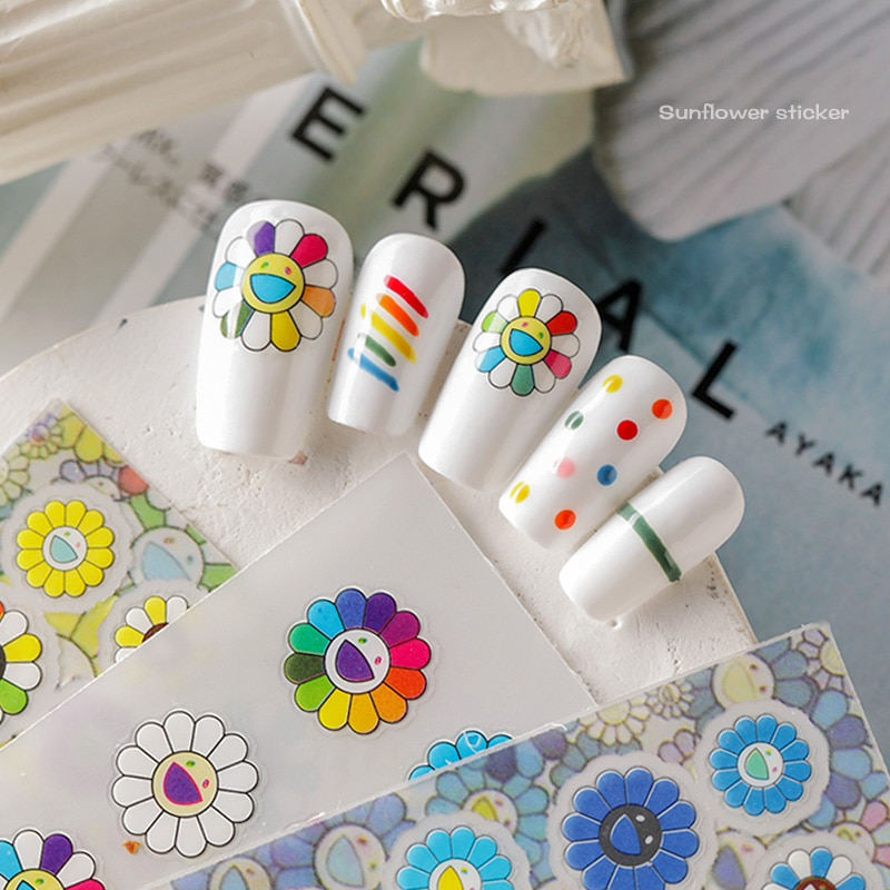 New arrived 3D Nail Stickers Decals Colorful Happy Sunflower Adhesive Art  Decoration Z0364