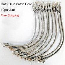 Cable redondo Ethernet RJ45, Cable de conexión Lan negro, CAT6, UTP, 0,5 pies, 0,65 pies, 10 unids/lote, Envío Gratis