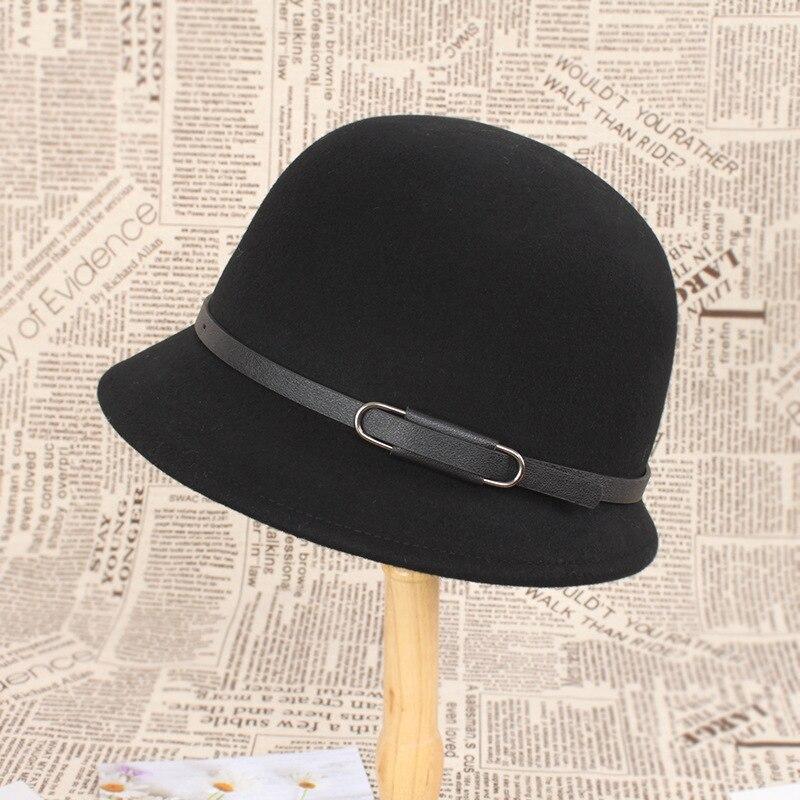Шляпа Женская Винтажная с цепочкой, фетровая шляпа-котелок из шерсти, 2020, Осень-Зима Шляпа Fedora