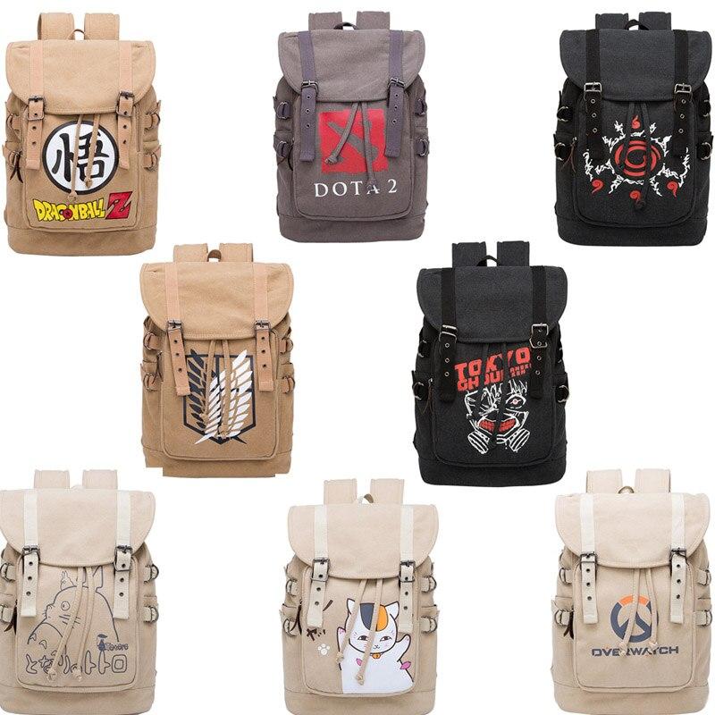Bolso de estudiante NARUTO Attack on Titan Japan anime periphery de lona con estampado de gato de dibujos animados mochila de diario bolsa de viaje informal regalo exterior
