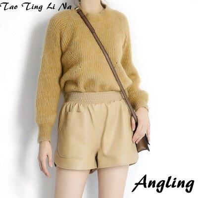 Tao Ting Li Na Women Spring Genuine Real Sheep Leather Shorts E7
