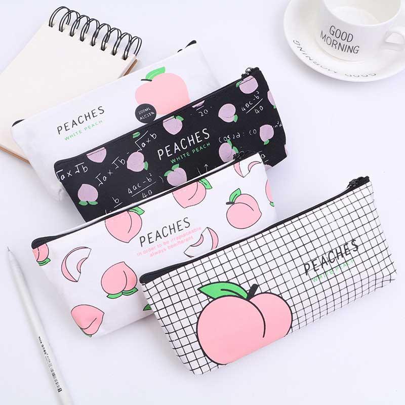 Canvas Fruit Peach pencil case school Kawaii Pink pencil cases for girl stationery canvas pencil bag escolar school supplies