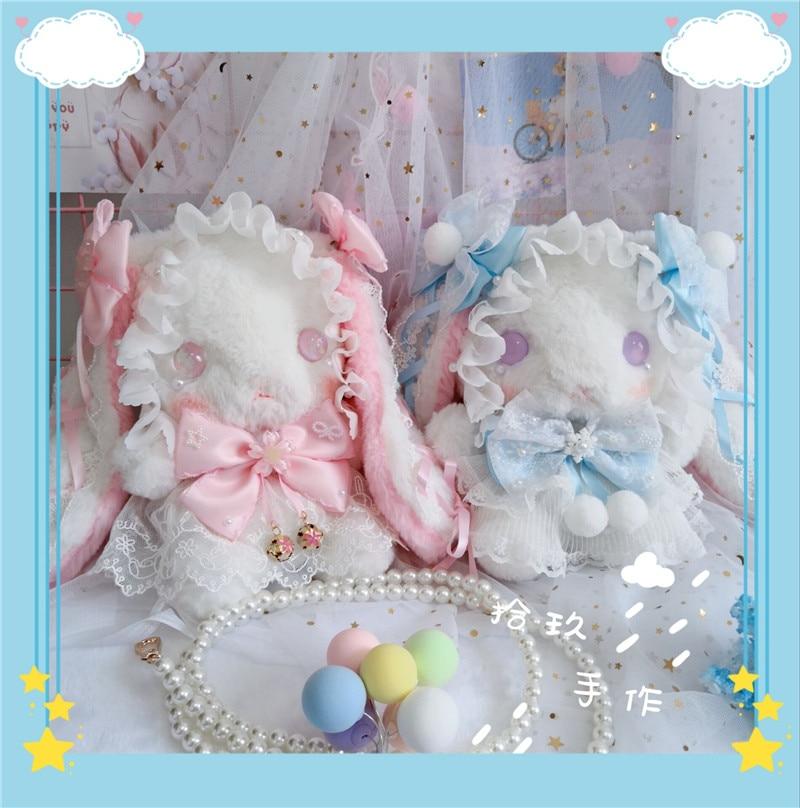 Kawai-حقيبة كتف أرنب لوليتا ناعمة للبنات ، حقيبة حمل دمية قطيفة لطيفة على الطريقة اليابانية