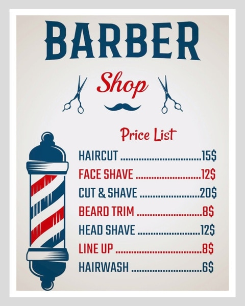 Парикмахерский прайс-лист, Парикмахерская, борода, металлический знак, оловянный налет