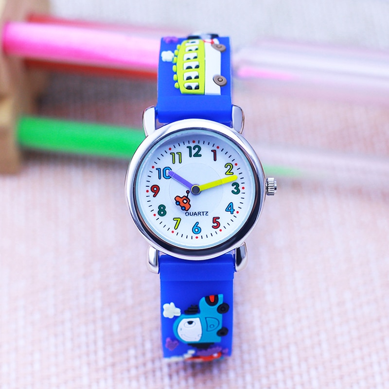 lovely fashion 3D cartoon toys watches boys girls little kids soft strap electric clock students sch